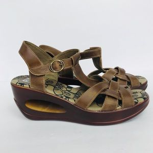 Fly London   Brown Leather Wedge Sandal